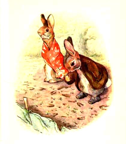 This is a free vintage Easter illustration of Benjamin Bunny by Beatrix Potter