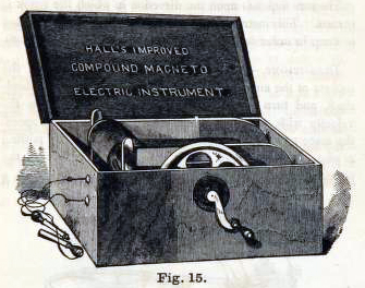 This is a free vintage scientific illustration of medical supplies featuring a compound magnetic machine