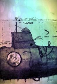 This is a free vintage william heath robinson illustration edited in rainbow color