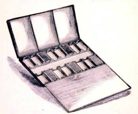 A free vintage illustration of an antique watercolor set