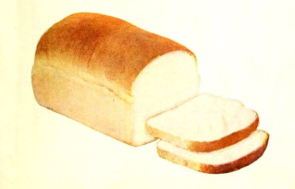 An antique illustration of sliced sandwich bread from a vintage 1917 cookbook