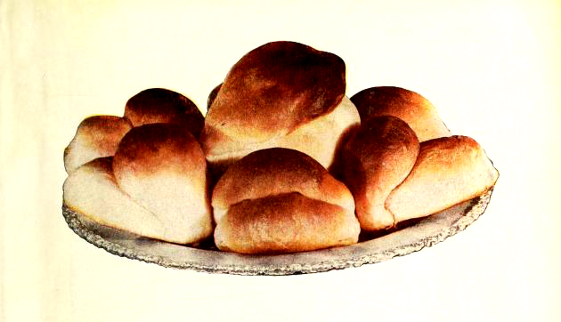 An antique illustration of delicious bread rolls