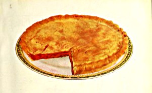 A vintage illustration of a Cherry Tart from a retro cookbook