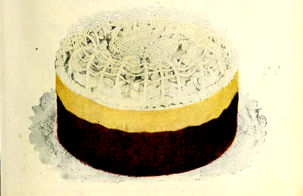 A delightful antique cookbook illustration of a fancy layer cake