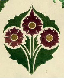 A vintage decorative design illustration from the 19th century