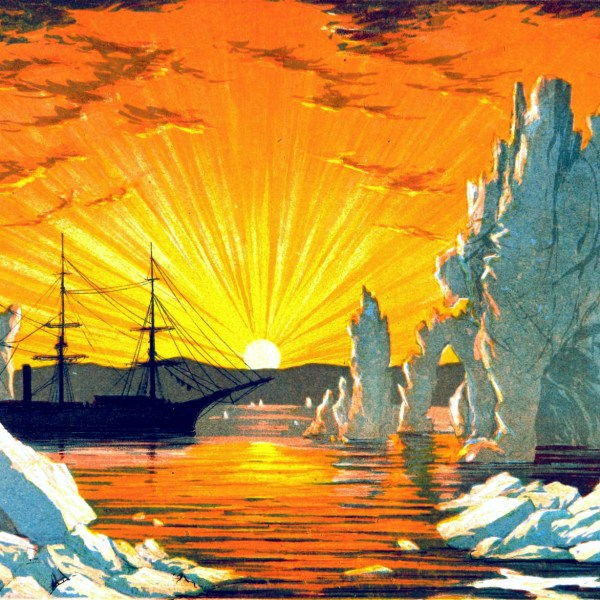 19th Century Glacier and iceberg illustrations with bright sunset - public domain