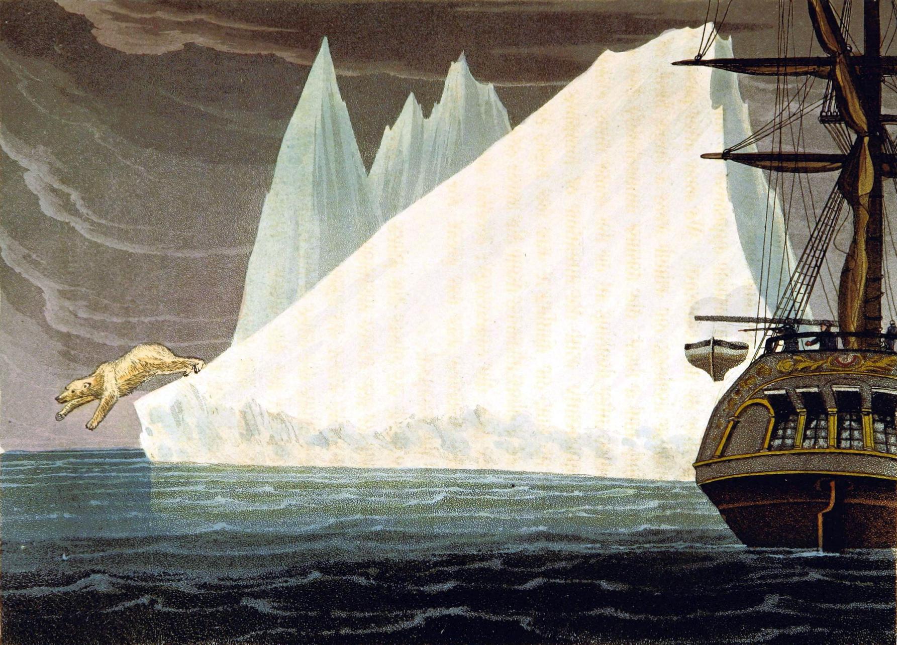 Public domain iceberg illustrations with polar bear. 19th century! Free to use.