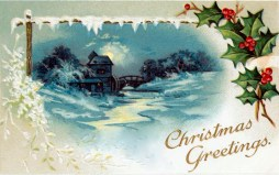 free vintage christmas cards with snowy scene