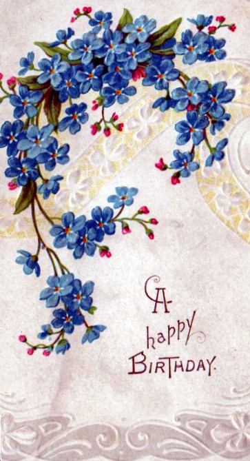 vintage birthday cards with blue flowers - free to use