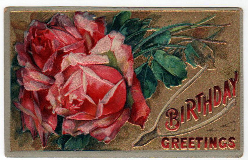 vintage birthday cards with roses - free to use
