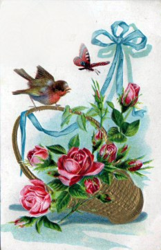 Free Valentine's Day pictures - 19th to 20th century illustration of birds, butterflies, and rose basket