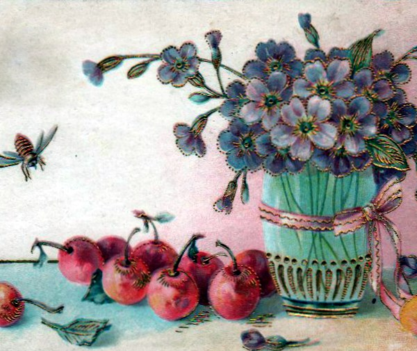 Free Valentine's Day pictures - flower vase and fruit illustration dating to the 19th to early 20th century