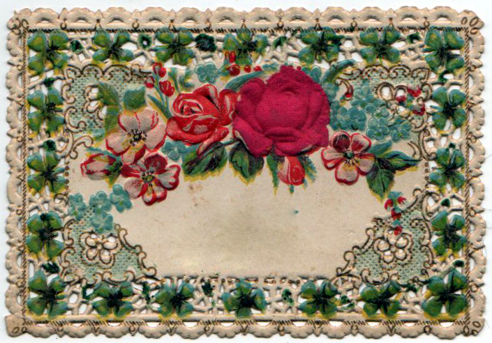Free Valentine's Day - 19th century lace valentine with roses and leaves