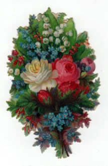 19th century valentines day pictures floral bouquet diecut