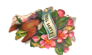 Free Valentine's Day pictures -19th century die cut scrap of a bird with love note