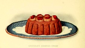 Chocolate cream dessert illustrations from the early 20th century