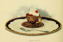 Chocolate frappe dessert illustrations: early 20th century public domain