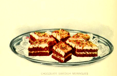 Free chocolate meringue dessert illustrations from 20th century public domain