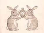 A free vintage illustration of two bunnies holding a clock. From a public domain children's book.