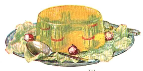 Enjoy this interesting asparagus jello mold image from a vintage jello cookbook
