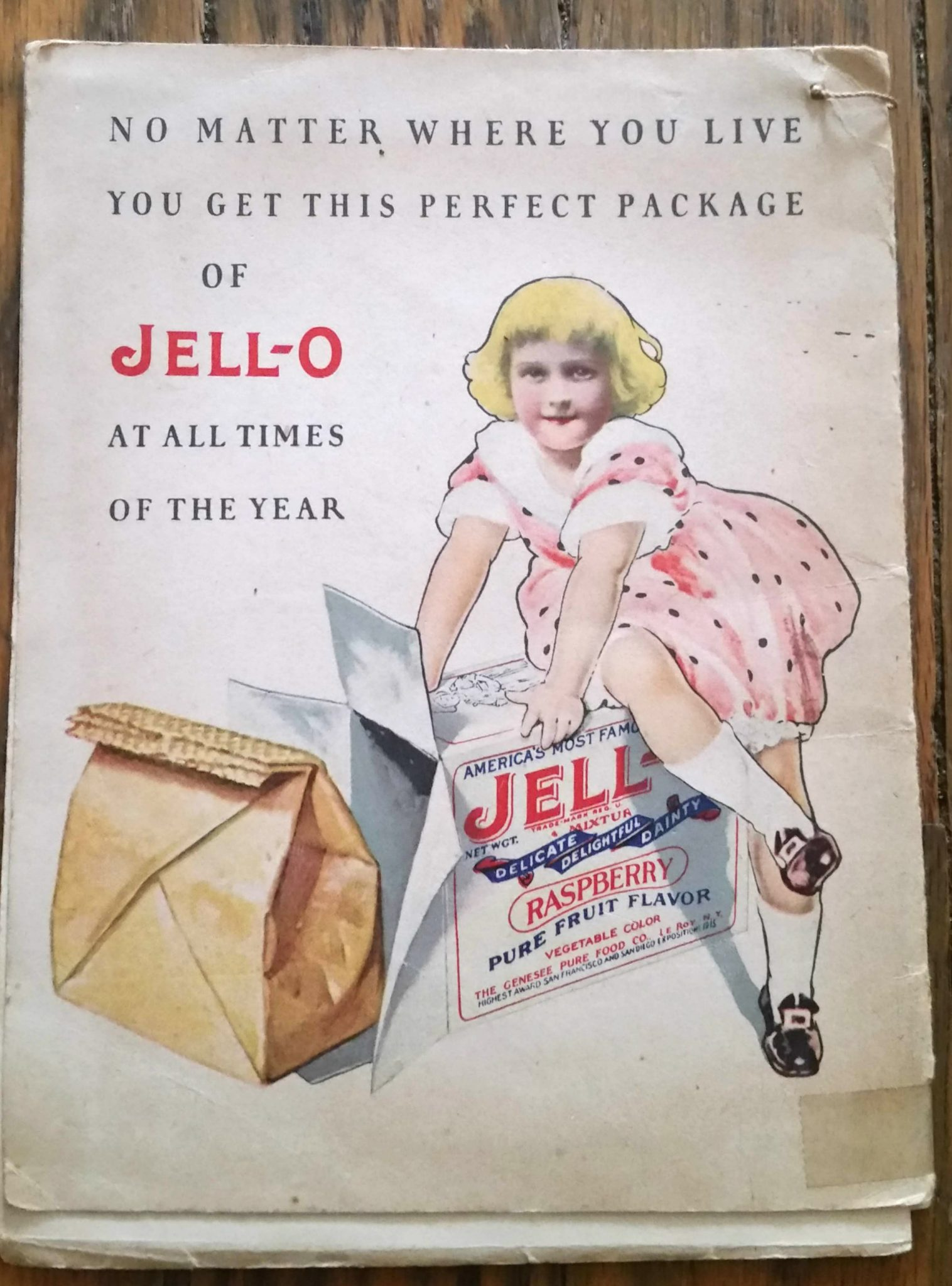 Back cover illustration from a vintage jello cookbook