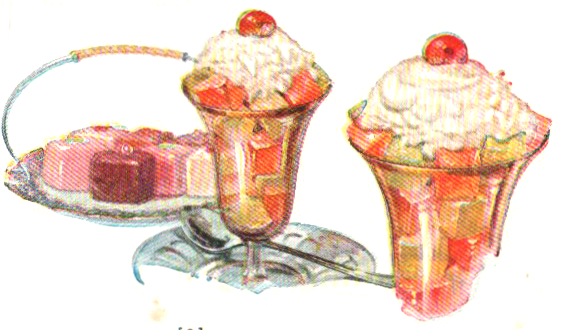 Enjoy these delicious food illustrations of jello cube desserts. From a vintage jello cookbook
