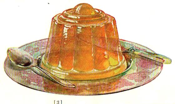 A vintage jello cookbook illustration of an orange gelatin mold