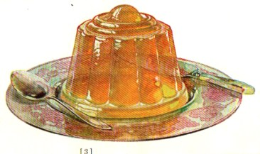 A vintage jello cookbook illustration of an orange gelatin mold