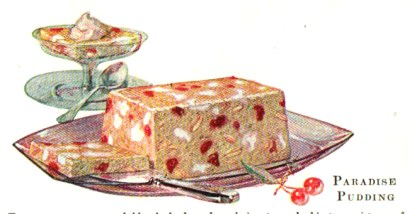 A vintage jello cookbook illustration of paradise pudding