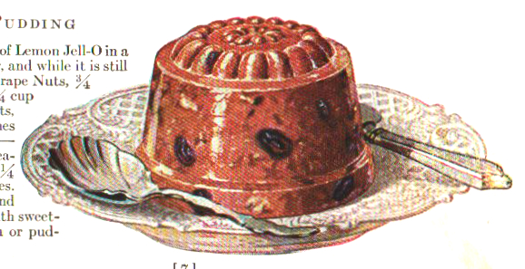 Plum pudding illustration from a vintage jello cookbook