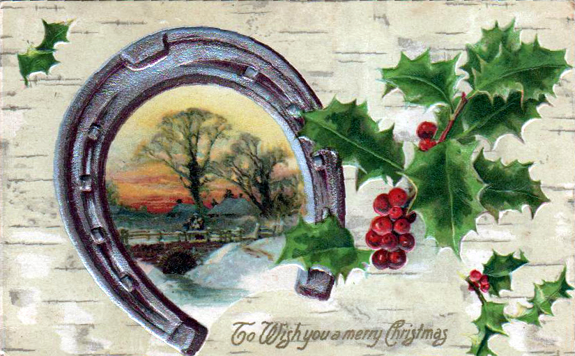 A free Christmas illustration from a vintage holiday postcard featuring a horseshoe, winter scene, and holly dates to the early 20th-century.
