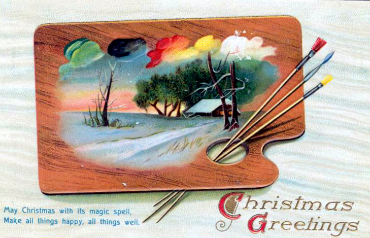 A totally unique turn-of-the-century FREE Christmas illustration featuring a paint palette illustration and brushes.