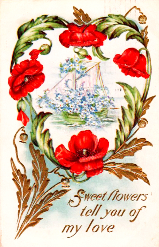 Vintage nautical Valentine with ship