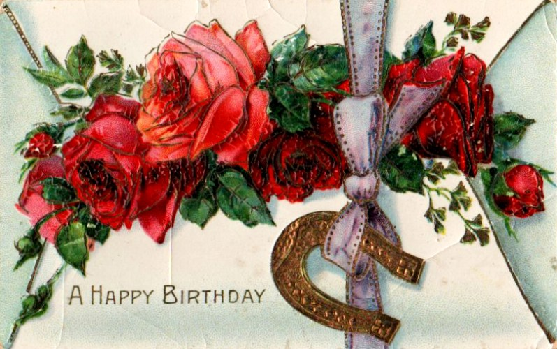 Vintage birthday card with roses and horseshoe in public domain.