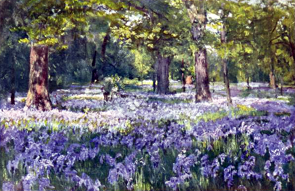 Free vintage landscape of a bluebells garden, public domain.
