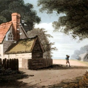 Free vintage landscape of an English cottage, public domain.