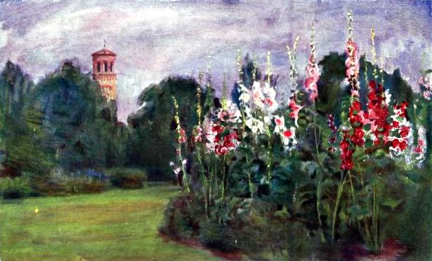 Free Vintage landscape of a hollyhock garden, public domain.
