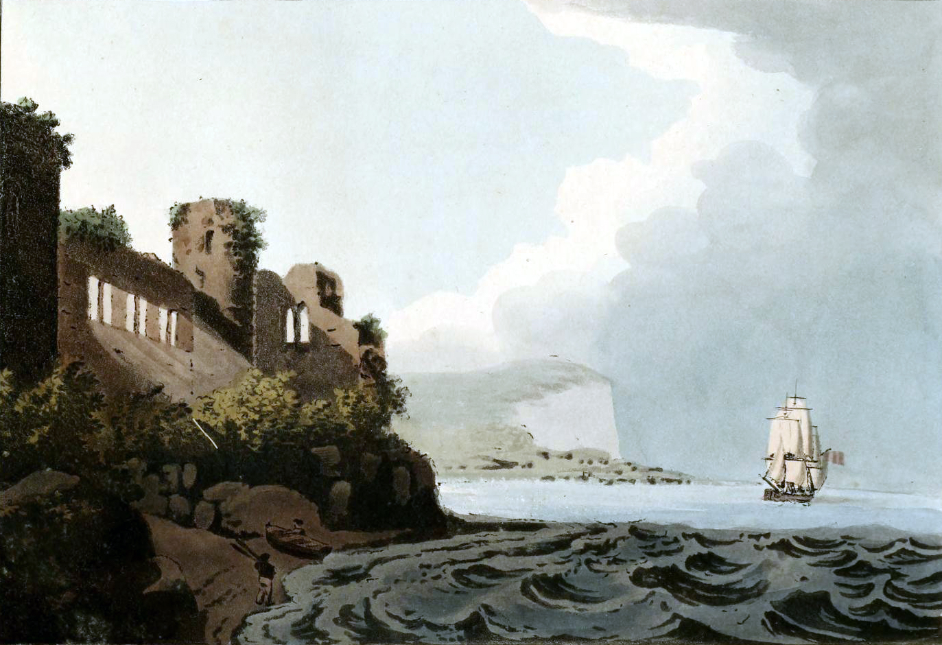 Free vintage landscape of 19th-century ship at at sea