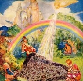 Vintage fantasy rainbow land 1920 public domain