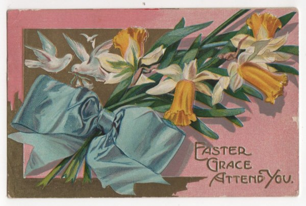 Vintage pink easter greeting with bouquet public domain
