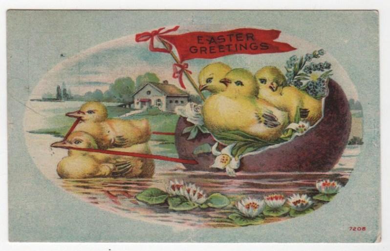 Vintage Easter egg boat greeting card public domain