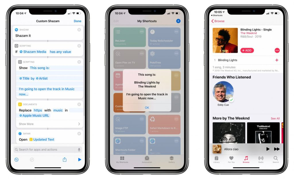 raccourcis shazam ios 13 4 e1580980331839 - what's new On iOS 13.4, macOS 10.15.4, watchOS 6.2 (and other OS)