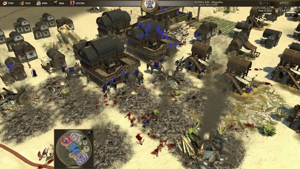 A screenshot of 0 AD in which a city is being destroyed.