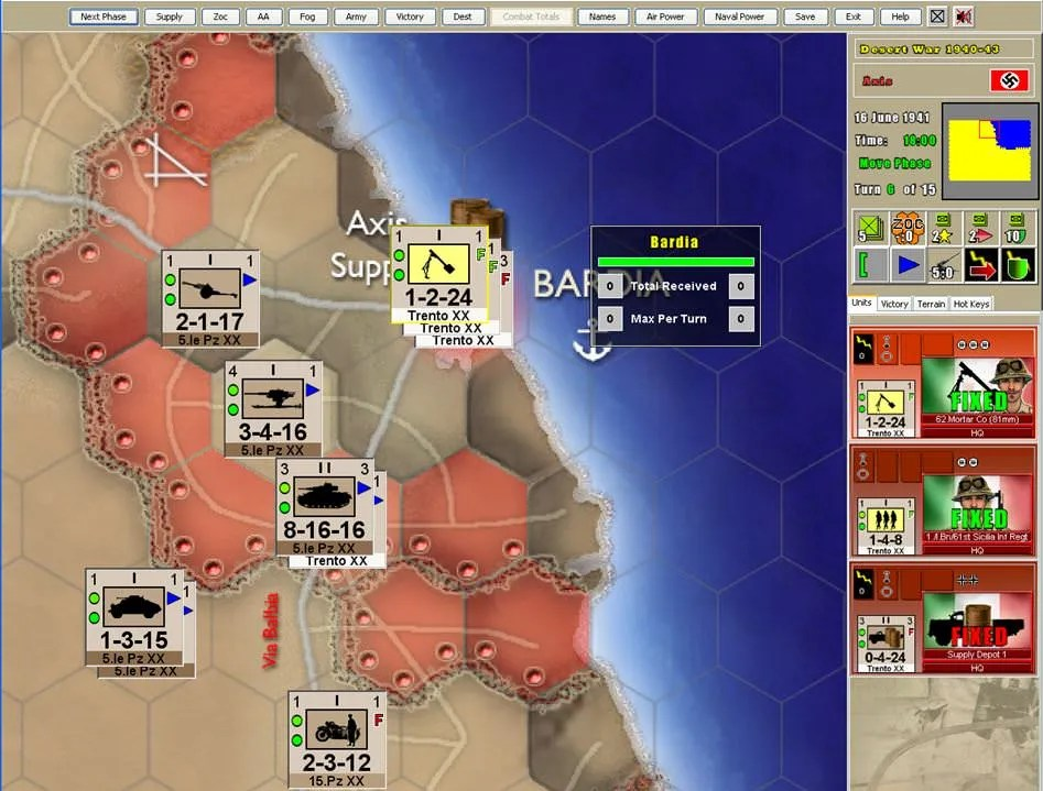 Screenshot of scenario from Desert War game
