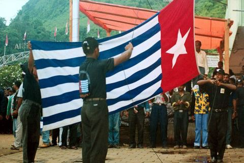 The Morning Star flag is raised in Jayapura/Port Numbay the capital of West Papua in defiance of the Indonesian authorities.