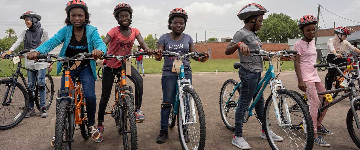 Refugee middle schoolers learned a lot about biking at the Freewheels Bike Camp.