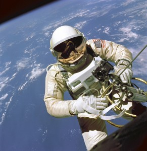 Edward White during EVA. During the Gemini 4 mission, White became the first American astronaut to perform a spacewalk. Via Wikipedia.