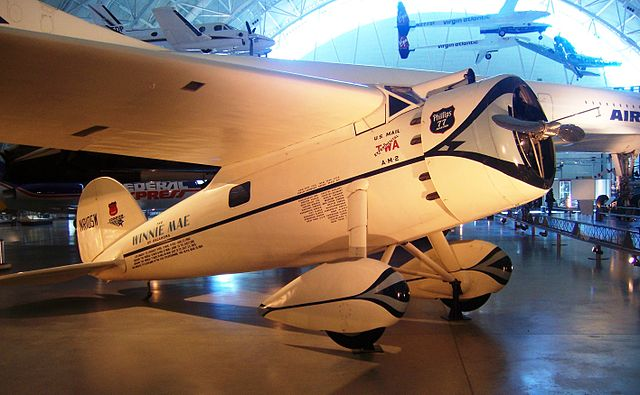 """Winnie Mae"" a Lockheed Vega aircraft of Wiley Post, when it was on display at the Steven F. Udvar-Hazy Center  VIa Wikipedia"