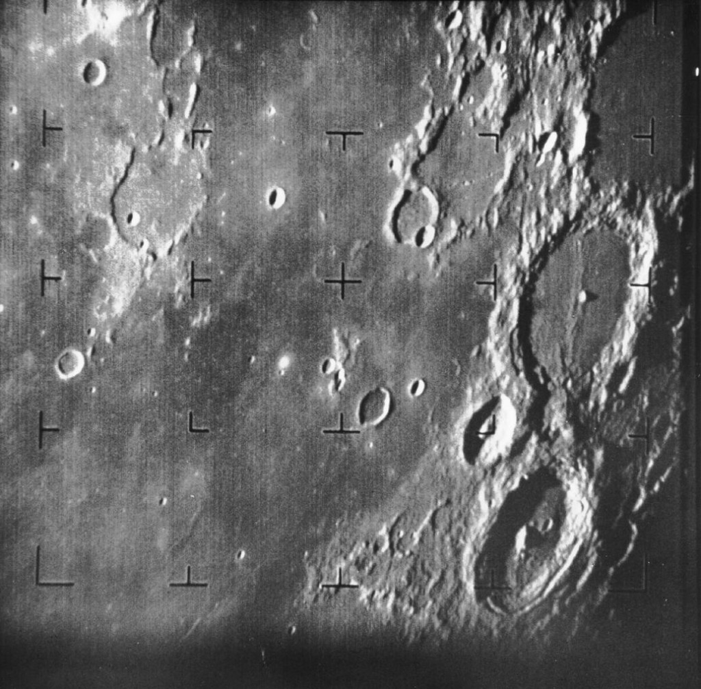 First image of the Moon taken by a US spacecraft. The large crater at center right is Alphonsus. Via Wikipedia