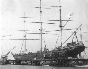 CSS Shenandoah in dry dock in Williamstown, Victoria, Australia, 1865 . Via Wikipedia.